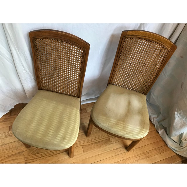 Late 20th Century Drexel Accolade II Campaign Style Cane Back Dining Side Chairs - Set of 6 For Sale - Image 5 of 11
