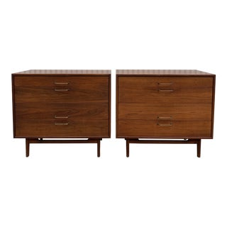 1950s Mid-Century Modern Jens Risom Walnut Bachelor Chests - a Pair For Sale