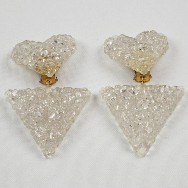 Romantic Dangling Clear Lucite Clip on Earrings With Heart For Sale - Image 4 of 9