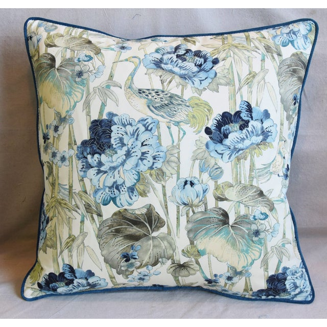 "Chinoiserie Chinoiserie Crane & Floral Feather/Down Pillows 24"" Square - Pair For Sale - Image 3 of 13"