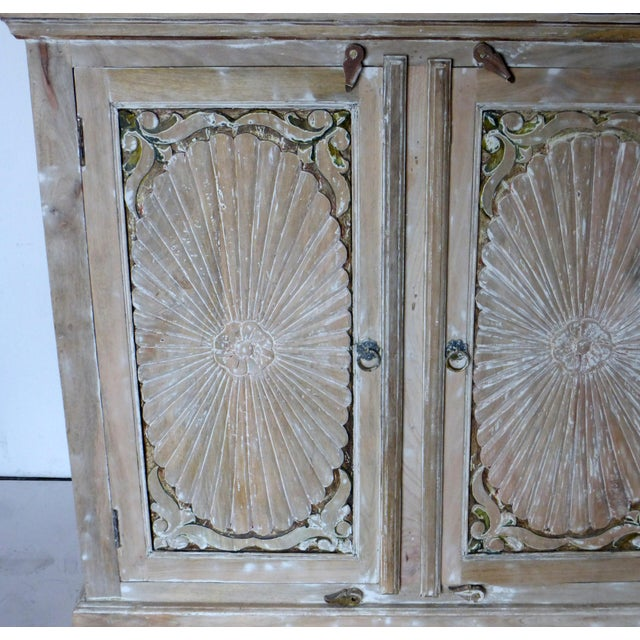 1990s Vintage Wooden Carved White Wash Cabinet For Sale - Image 4 of 7