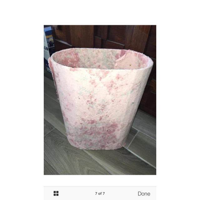 Pink Paper Mâché Waste Basket by F.B. Fogg For Sale - Image 7 of 7