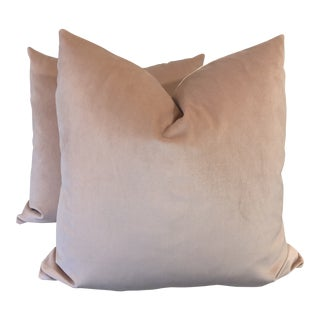 "Powder Pink Velvet 22"" Pillows-A Pair For Sale"