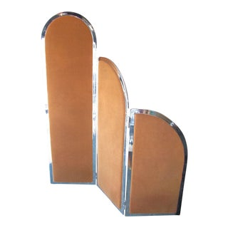 1970s Vintage Art Deco Chromed Room Divider With Removable Fabric Panels For Sale