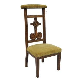 Antique Carved Oak Wood Prie Dieu Prayer Chair