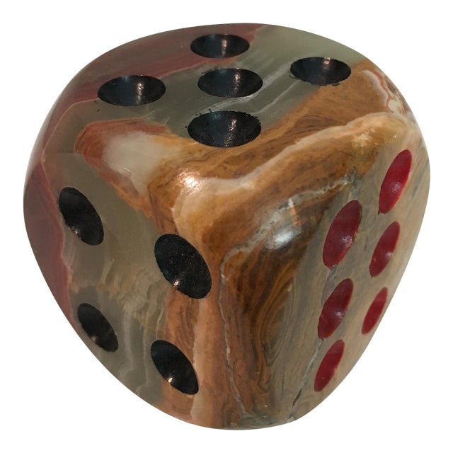 Oversized Alabaster Dice Paperweight For Sale