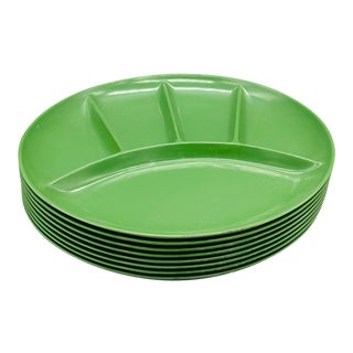 1950s Vintage Green Plastic Fondue Plates From Japan - Set of 8 For Sale