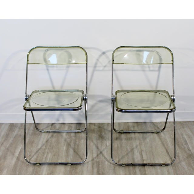 1960s 1960s Vintage Castelli Mid Century Modern Lucite Chrome Folding Side Chairs - Set of 4 For Sale - Image 5 of 12