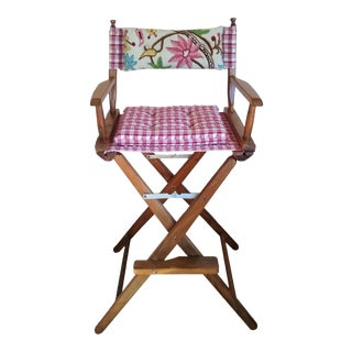 Vintage Tall Walnut Framed Folding Director's Chair For Sale