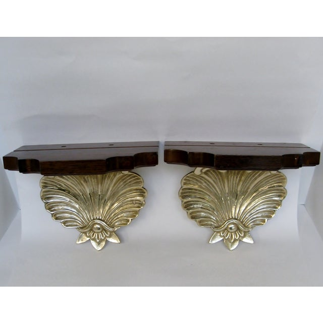 Brass & Wood Shell Shaped Wall Brackets - A Pair - Image 4 of 7