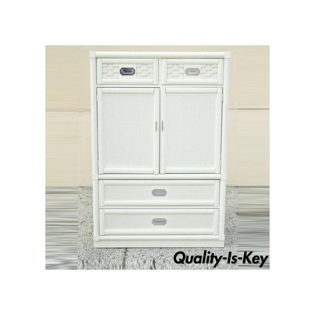 Vintage Dixie Cane Rattan Campaign Style White Tall Chest Armoire Dresser Cabinet For Sale - Image 13 of 13