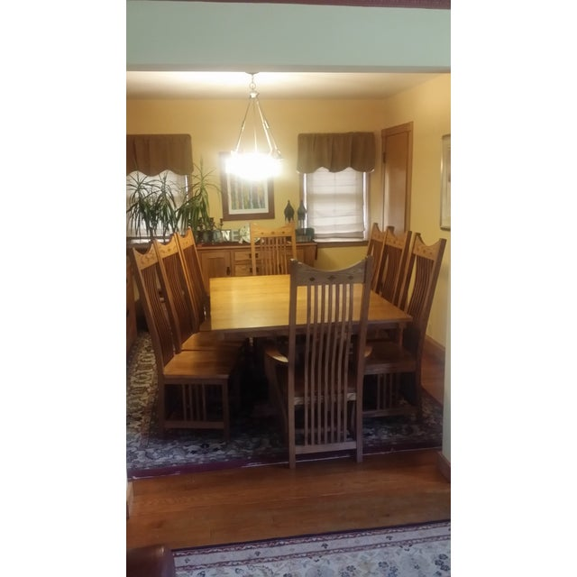 Solid Quatersawn Oak Mission-Style Dining Set - Set of 9 For Sale - Image 11 of 13