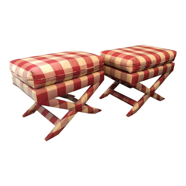 Hollywood Regency Upholstered X Benches - A Pair - Image 1 of 6