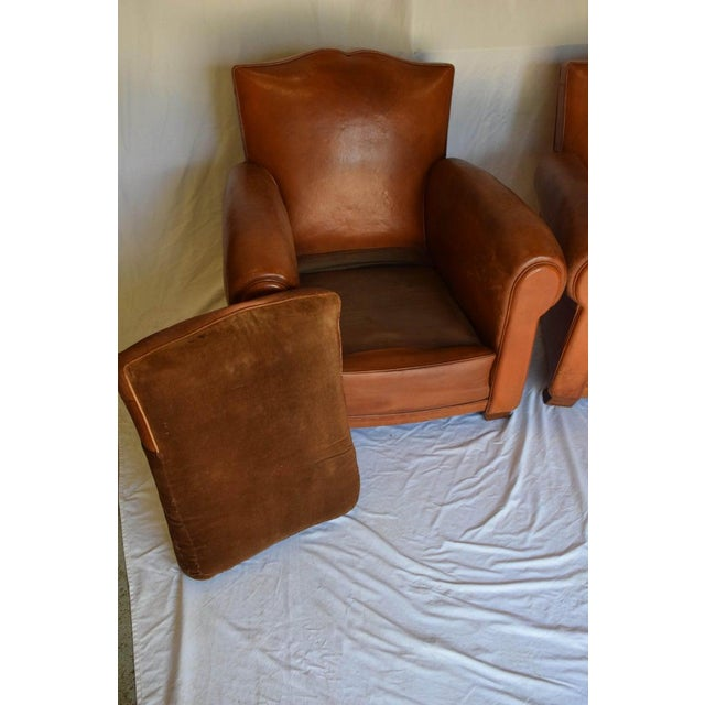 1930s Leather Moustache Leather Club Chairs - a Pair For Sale In Houston - Image 6 of 13