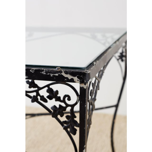 Early 20th Century Salterini Style Wrought Iron Patio Garden Table For Sale - Image 5 of 13