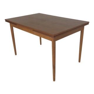 1960s Danish Modern Expanding Teak Dining Table For Sale