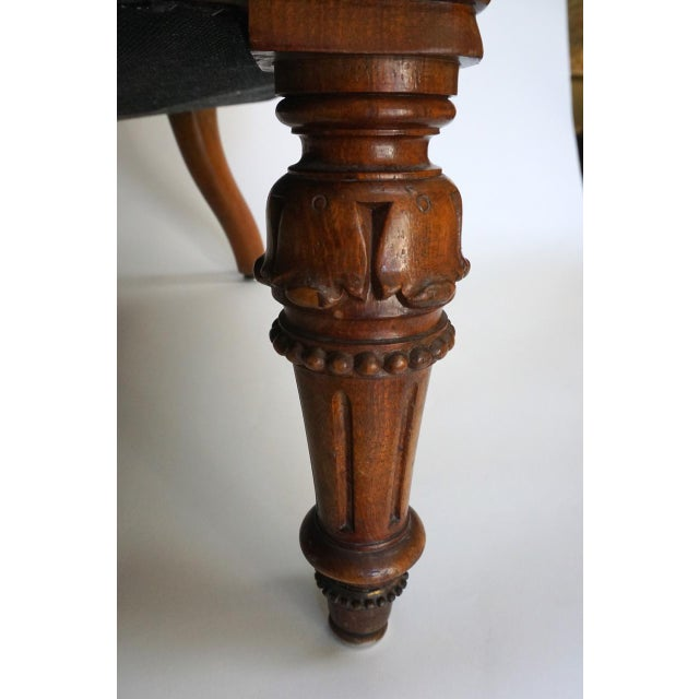 Antique Walnut Louis XVI Fauteuil and Footstool - Image 8 of 11