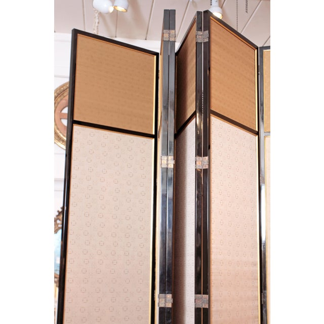Large Neo Classical Six-Panel Black Lacquer and Fabric Screen/Room Divider - Image 6 of 11