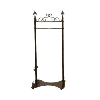 Large French Boutique Wrought Iron Rolling Clothes Rack / Garment Hanger For Sale