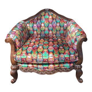 Matreshka Russian Nesting Doll Louis XV Style Upholstered Arm Chair