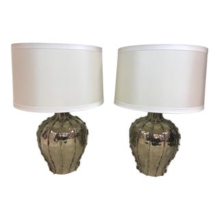 Beaded Chrome Lamps With Drum Shade - A Pair For Sale