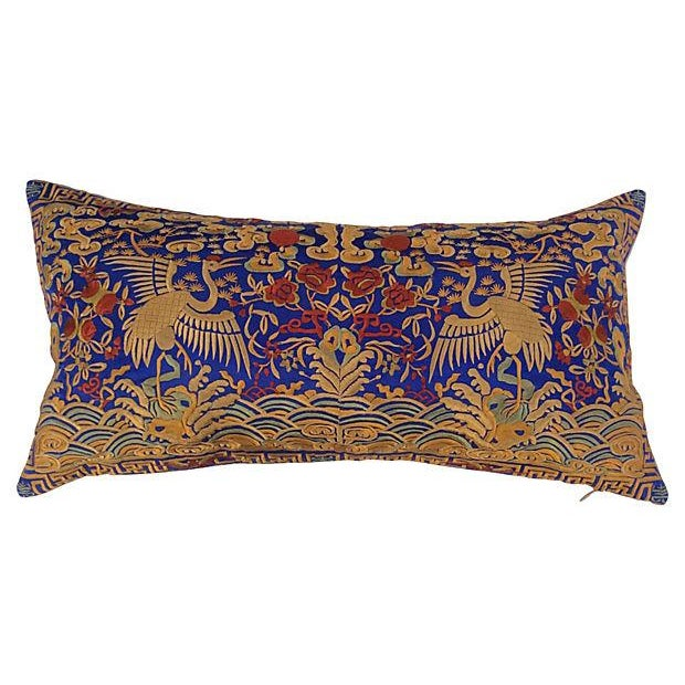 Embroidered Silk Crane Boudoir Pillows - A Pair - Image 2 of 5