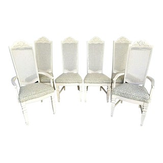 Country French Italian Provincial Solid Wood Cane Back Dining Chairs - Set of 6 For Sale