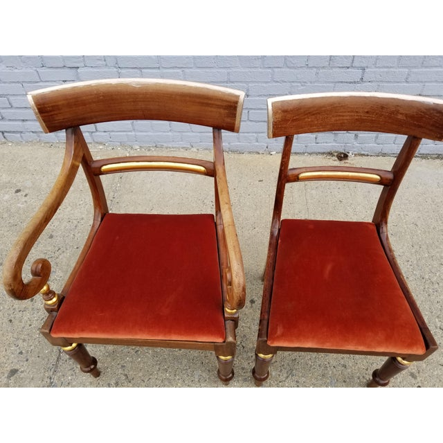 Antique Neoclassical Mahogany Gilt Side Chairs - a Pair For Sale - Image 9 of 11