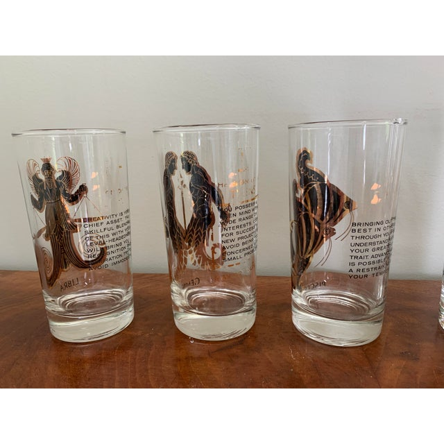 Glass Vintage Zodiac Tall Glasses - Set of 6 For Sale - Image 7 of 10