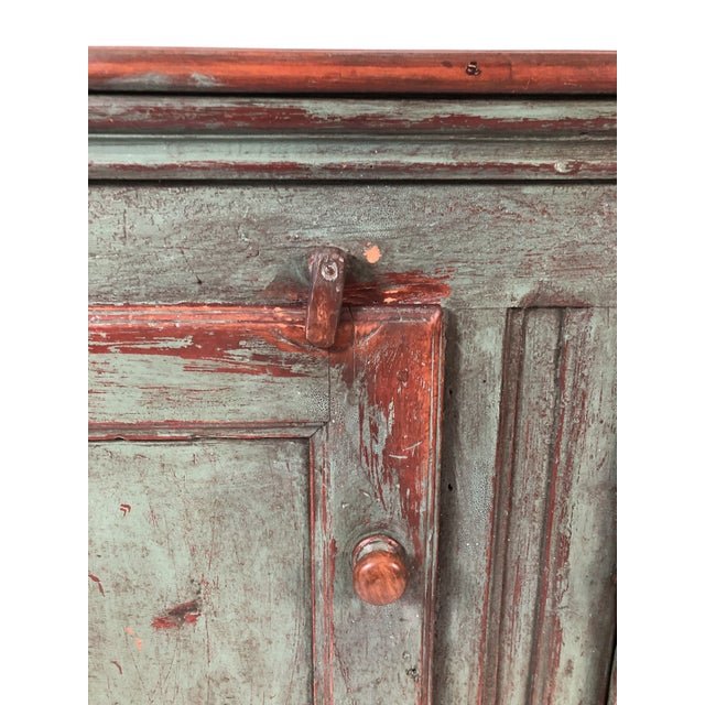 French Country Canadian Green Painted Side Cabinet For Sale - Image 11 of 13