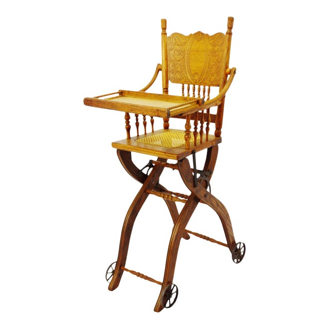 Antique Adjustable Child's High Chair and Stroller Combination- Cane Seat  For Sale - Antique Adjustable Child's High Chair And Stroller Combination- Cane