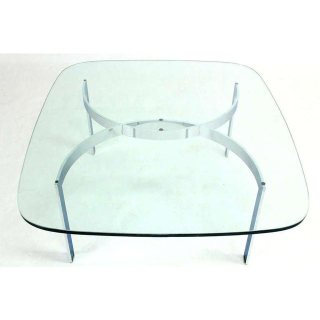 Mid-Century Modern Chrome and Glass-Top Coffee Table For Sale - Image 9 of 10