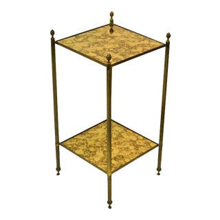 French Bronze and Brass Maison Baguès Square 2-Tier Side Table - a Pair For Sale
