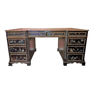 John Widdicomb Oriental Oil Painted Partner Executive Desk