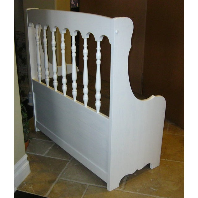 Tall-Back White Cottage Rush Seat Bench - Image 5 of 10