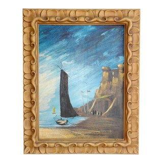 Vintage Mid-Century Large Ship Nautical Framed Painting For Sale
