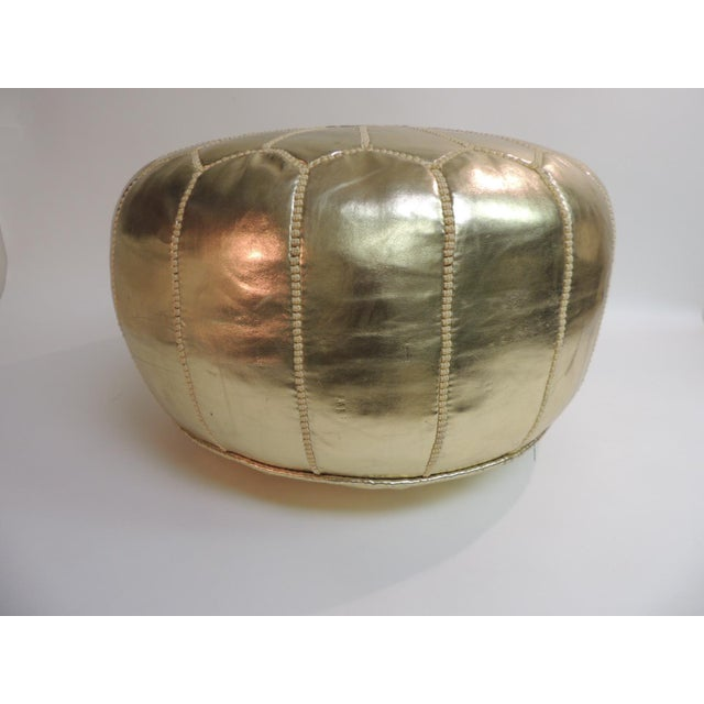 Boho Chic Round Boho Chic Gold Moroccan Ottoman For Sale - Image 3 of 5