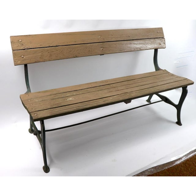 Industrial Cast Iron and Wood Park Bench For Sale - Image 3 of 9