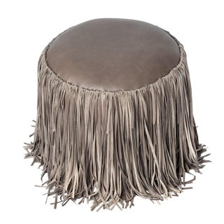 Grey Shaggy Leather Fringe Ottoman For Sale