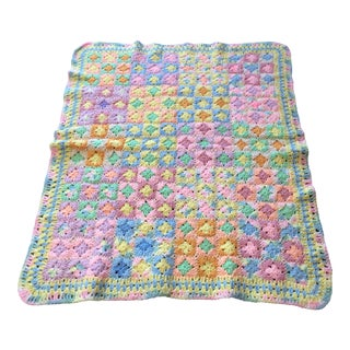 Vintage Brightly Colored Pastel Crochet Throw For Sale