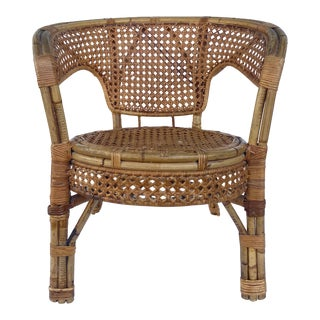 Vintage Bamboo and Cane Chair For Sale