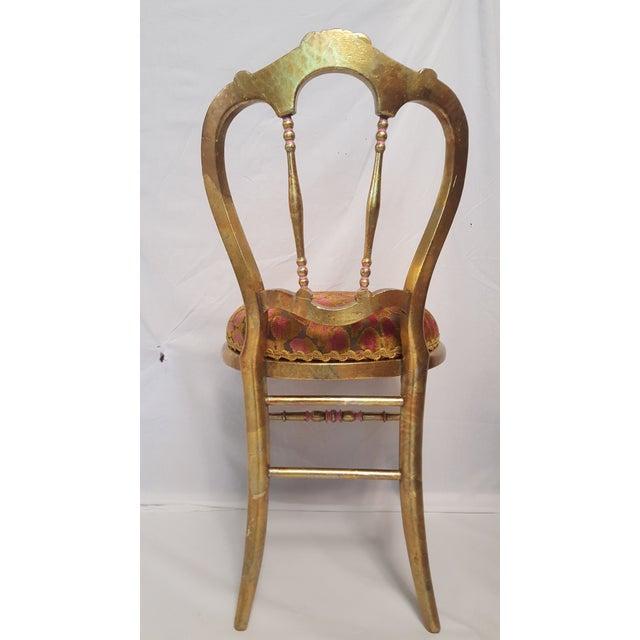 Hollywood Regency Gold-Leafed & Leopard Velvet Vanity Chair - Image 5 of 8