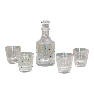 1970s Vintage Salviati for Murano Decanter & Glasses- 5 Pieces For Sale