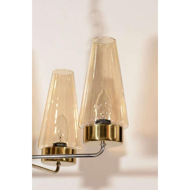 1950s Mid-Century Modern Danish Chandelier in Teak and Brass For Sale - Image 5 of 9