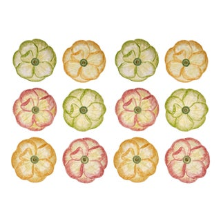 Moda Domus x Chairish Exclusive Dessert Plates in Green, Yellow, and Pink- Set of 12 For Sale