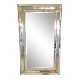 Leaning Six-Bevel Framed Mirror For Sale