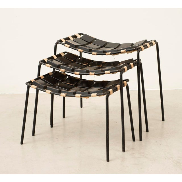 Extremely rare set of three stacking stools designed by Maxwell Yellen, Yellen Interiors, New York. Iron, painted birch...