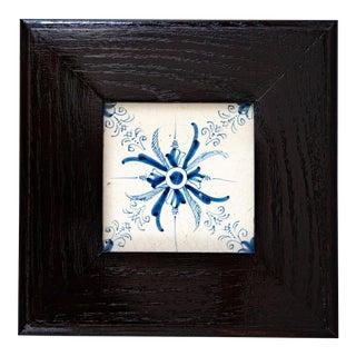 Framed Antique 17th-Century Dutch Delft Framed Floral Aigrette Tile For Sale