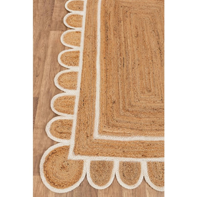 White White Trim Jute Scallop Braided Handmade Rug For Sale - Image 8 of 10
