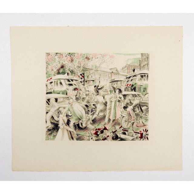 Abstract Lithograph of Paris Traffic Scene 1950's by Jean Chieze For Sale - Image 3 of 4